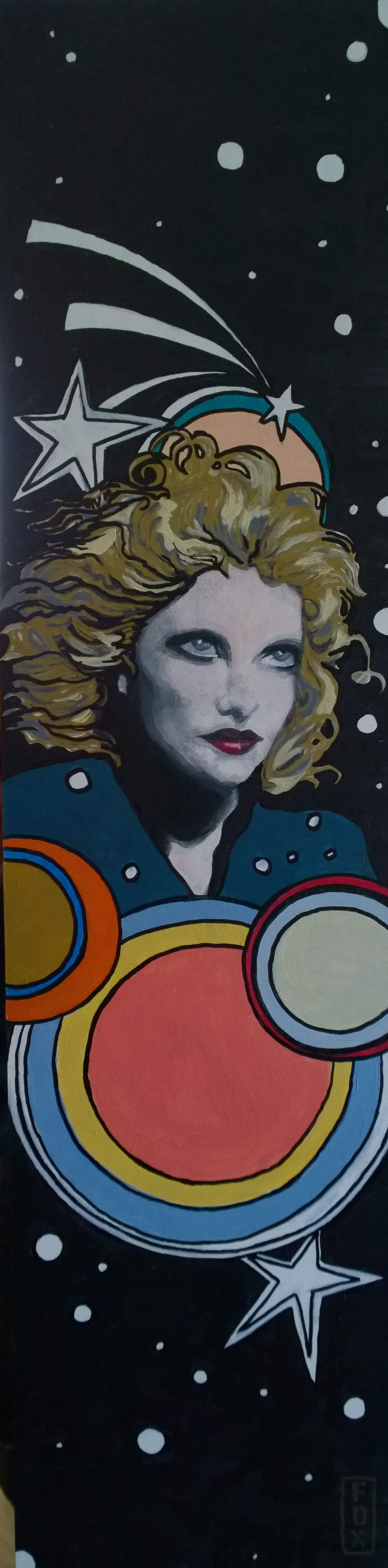 """""""Alison Goldfrapp"""" $175 - 6x24 acrylic and leafing pen on gessoboard"""