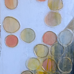 """'Winter Sun"""" $225 - 10x30 acrylic, leafing pen and paper on gessoboard"""
