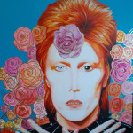 """""""David Bowie"""" $400 - 30x36 acrylic and leafing-pen on gessoboard"""