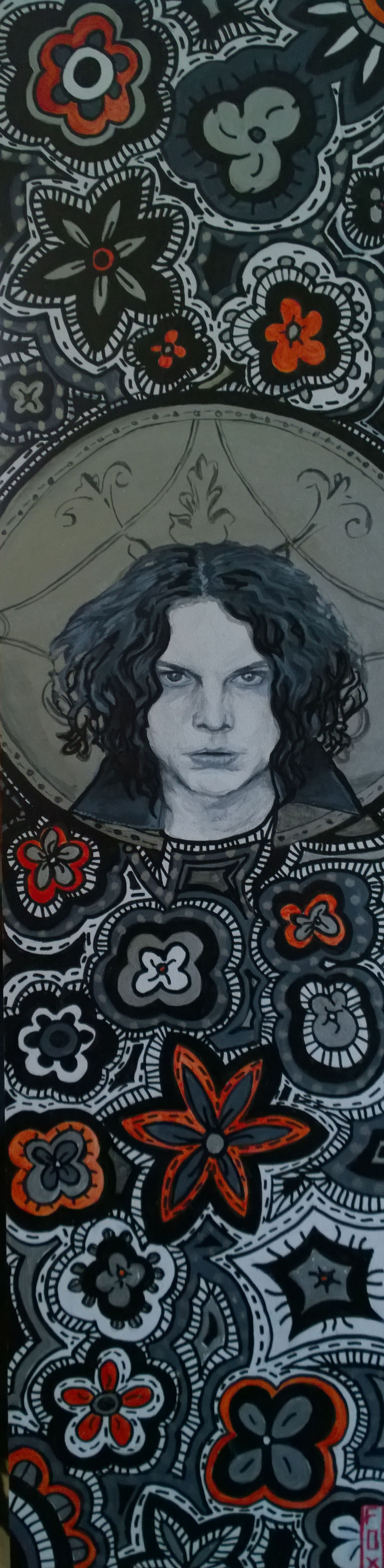 """""""Jack White"""" $175 - 6x24 acrylic and leafing-pen on gessoboard"""