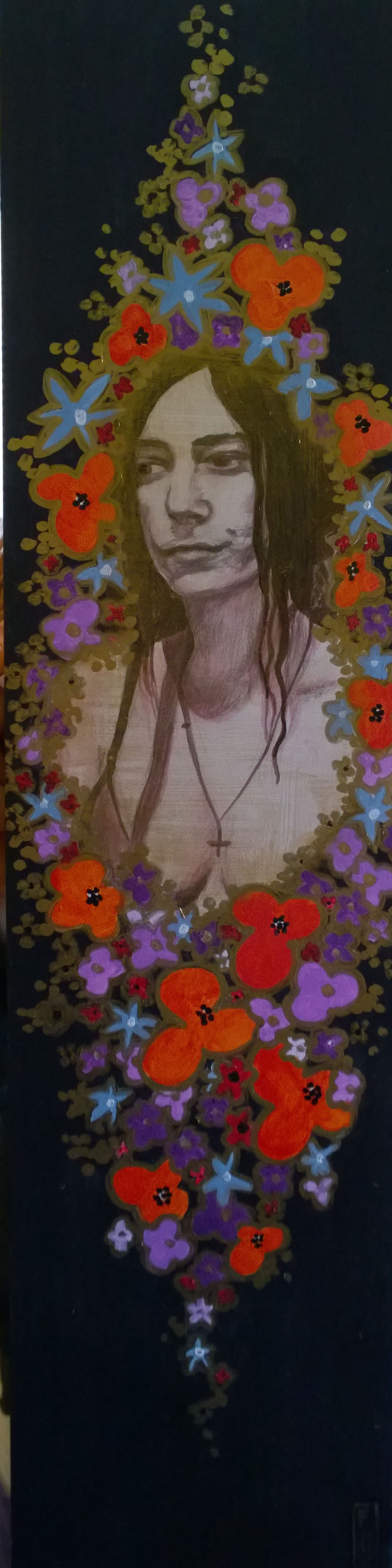"""""""Patti Smith"""" $175 - 6x24 acrylic and leafing pen on gessoboard"""