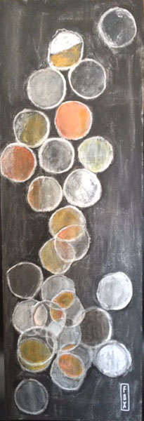 SunKillMoon 10x30 acrylic, leafing pen and paper on gessoboard