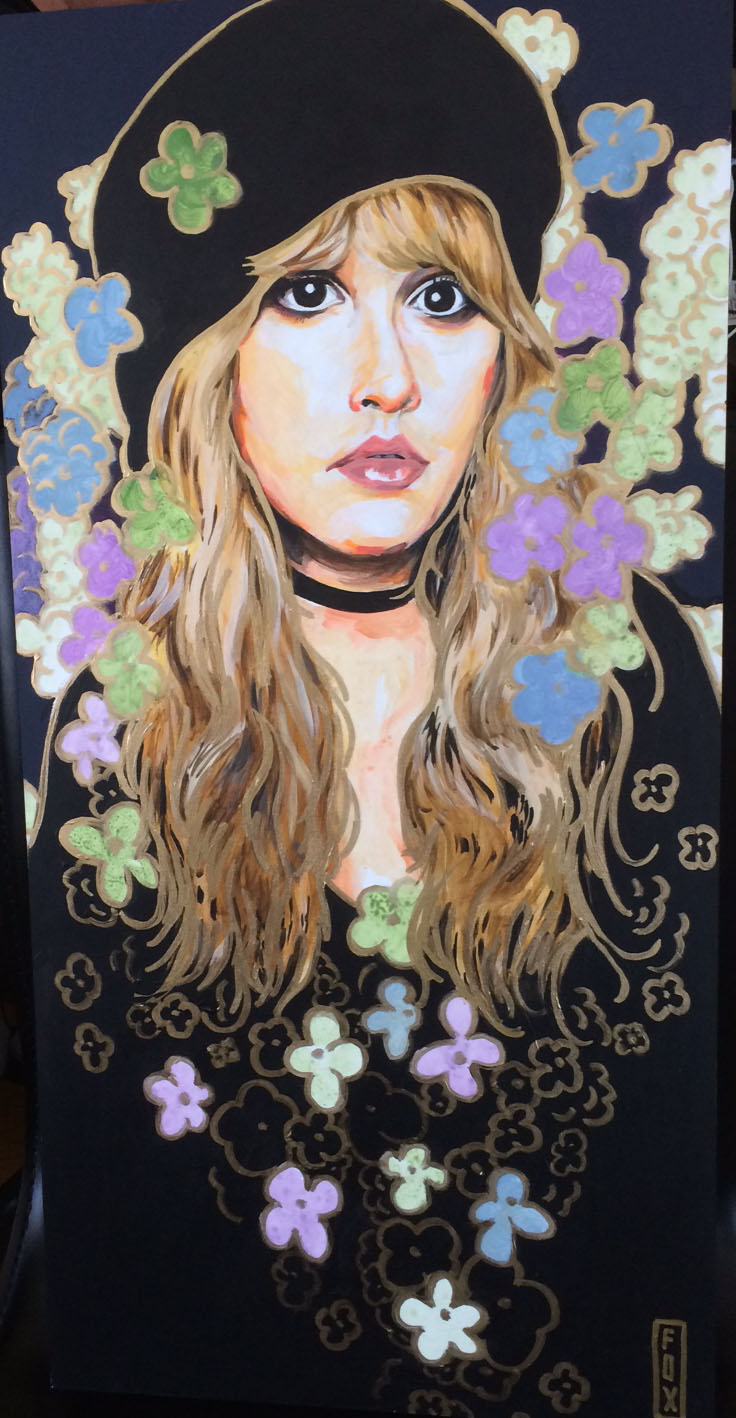 Stevie Nicks 12x24 acrylic and leafing-pen on gessoboard